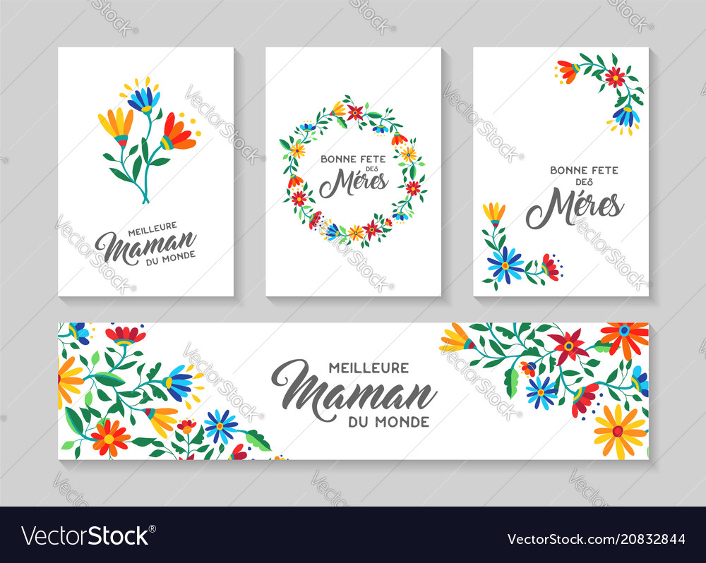 Happy mother day french floral card and label set vector image