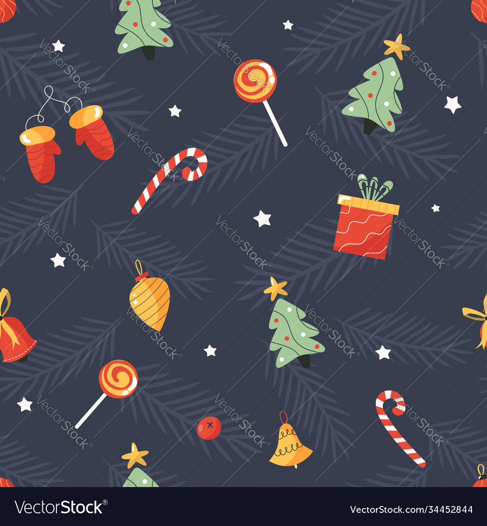 Holiday seamless pattern with christmas toys