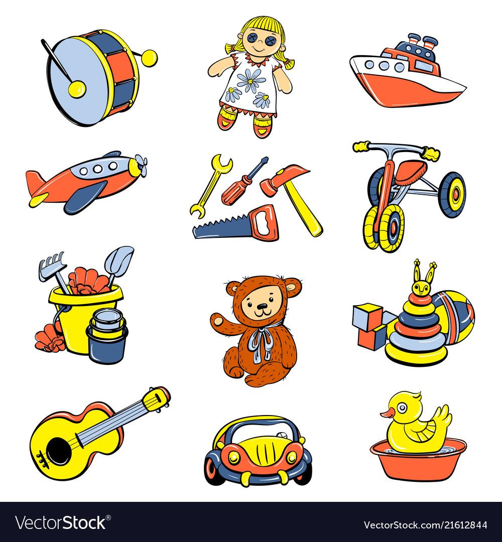 Kid toys children icons set cartoon style