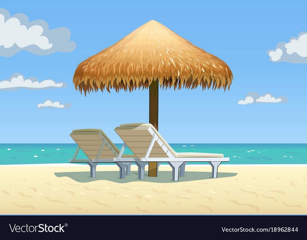 Ocean beach with umbrella vector image