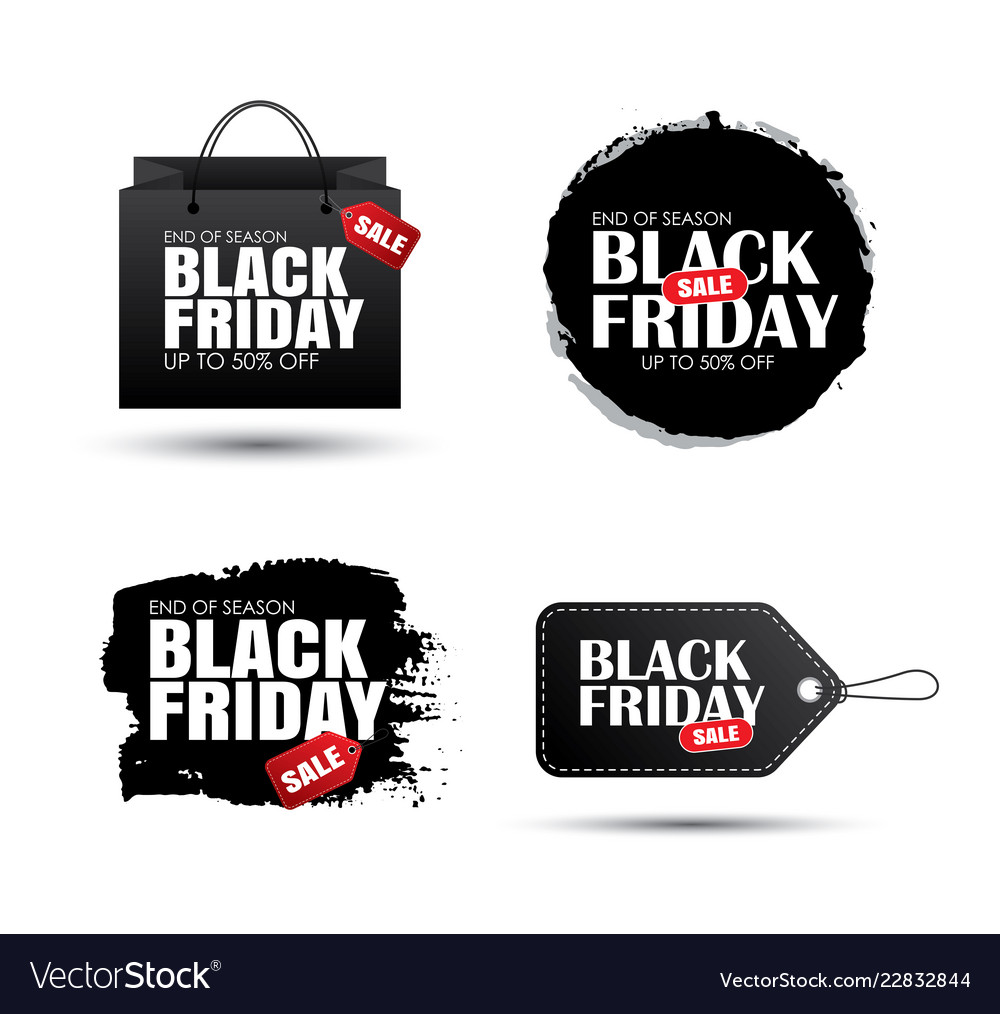 Set of black friday sale abstract banner with