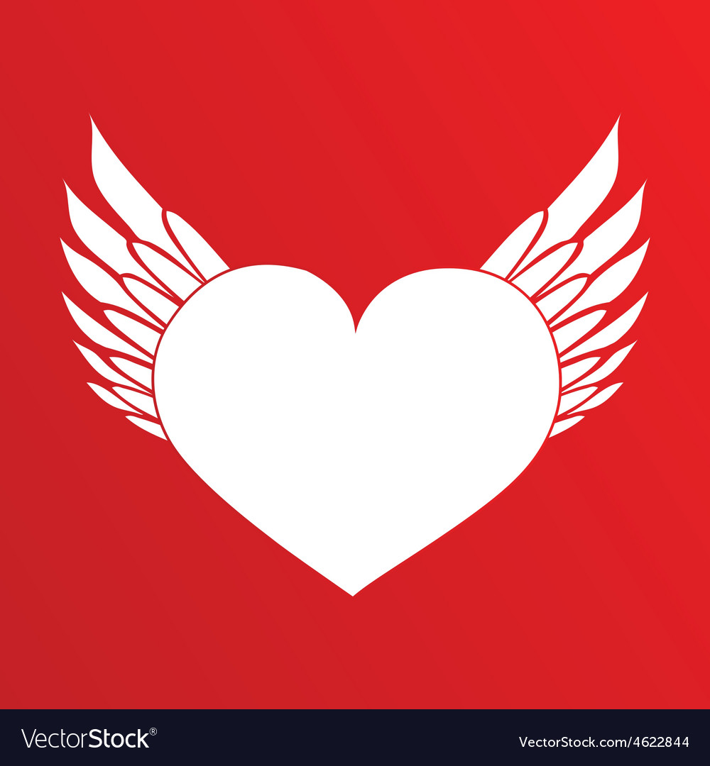 White heart with wings vector image