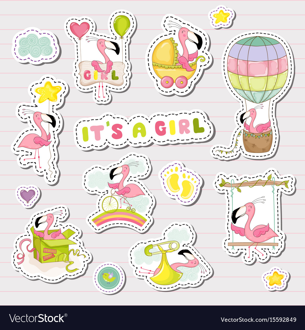 Baby girl stickers for baby shower party
