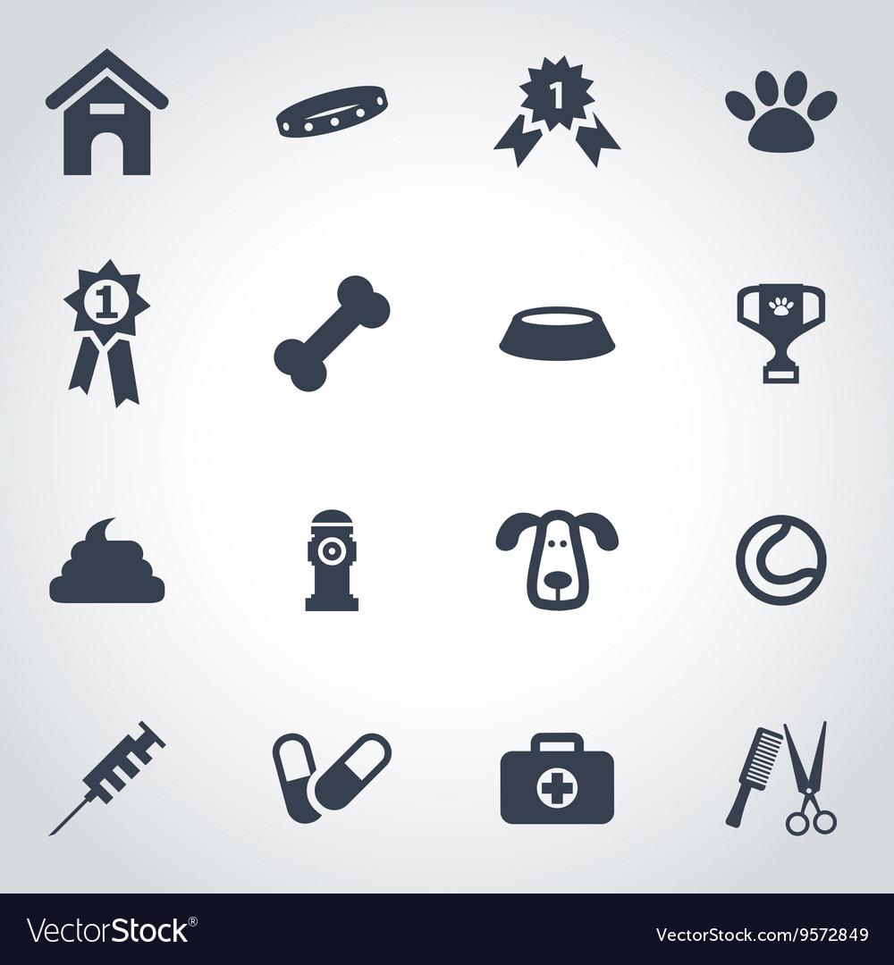 Black dog icon set