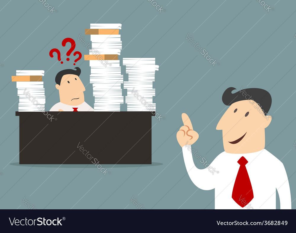Cartoon businessman with employee in flat style