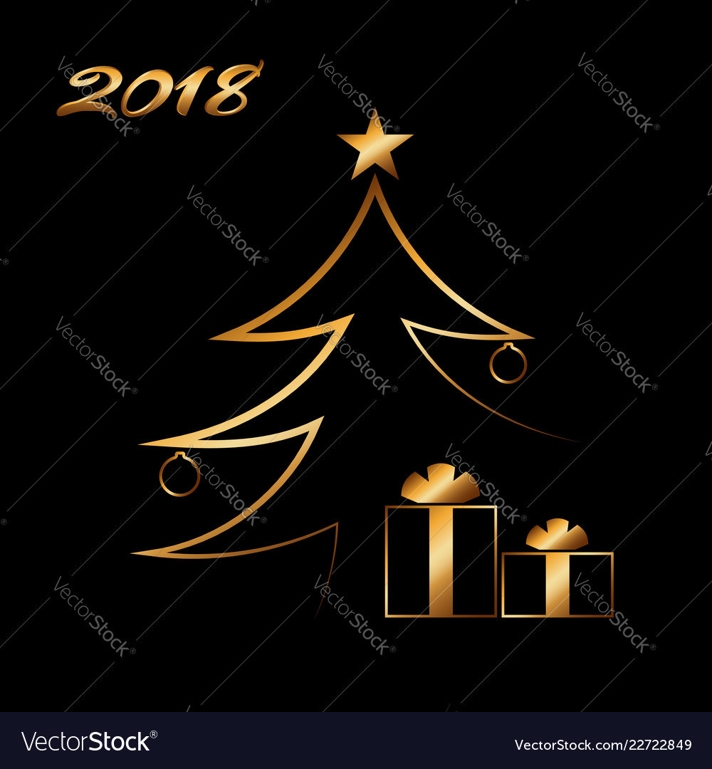 Christmas tree happy new year gold background