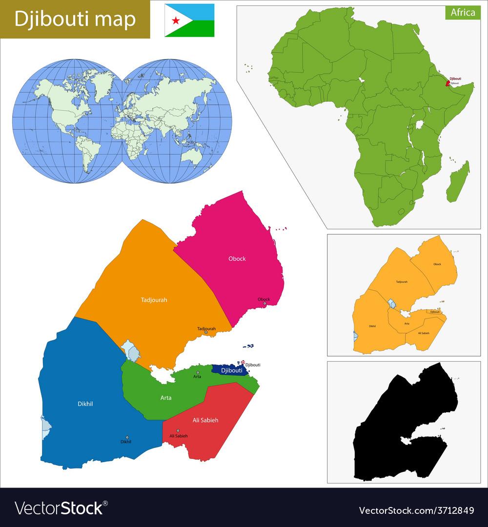 Djibouti map Royalty Free Vector Image - VectorStock