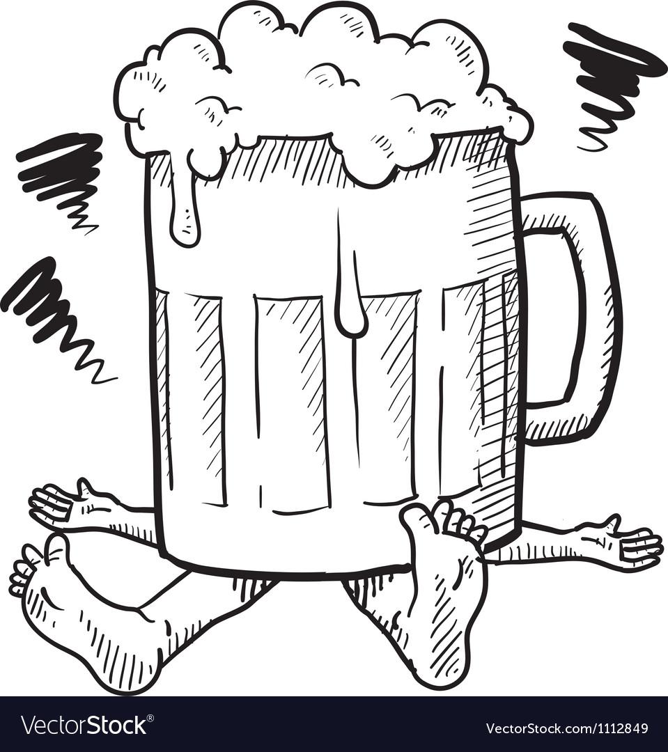 Doodle Squash Beer Mug Royalty Free Vector Image