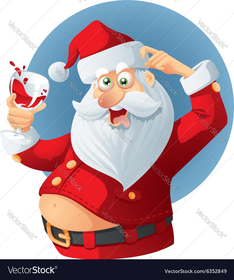 Drunk Santa Claus Cartoon Royalty Free Vector Image