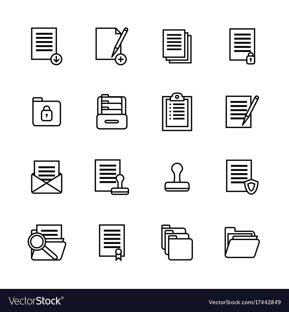 Folders thin line icon set