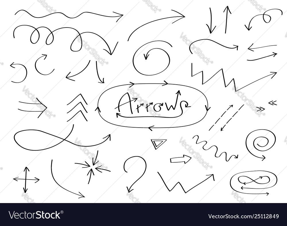 Handdrawn doodle arrows icon set hand drawn black