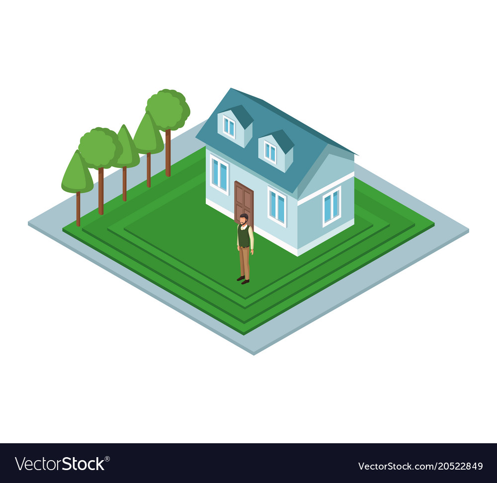 Isometric house with people