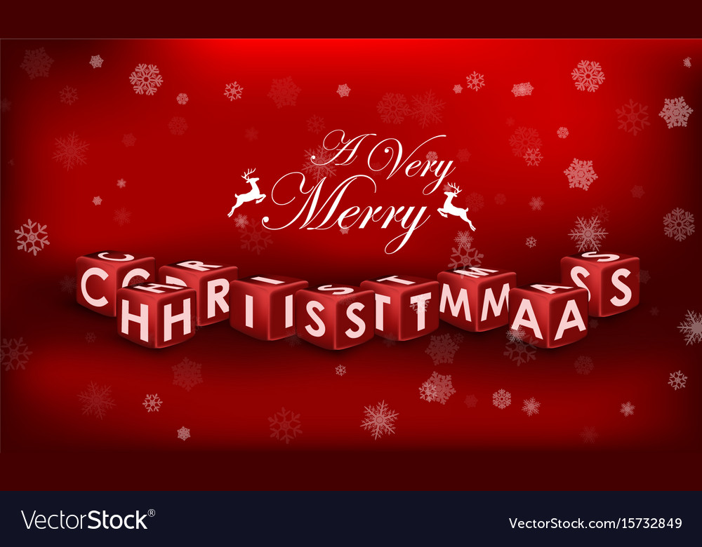 Merry christmas 3d text on red background