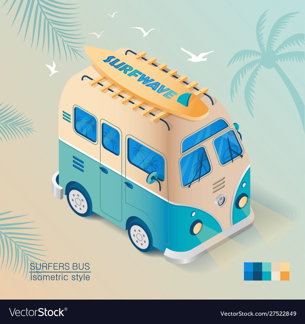 Old bus on beach with surfboard in isometric