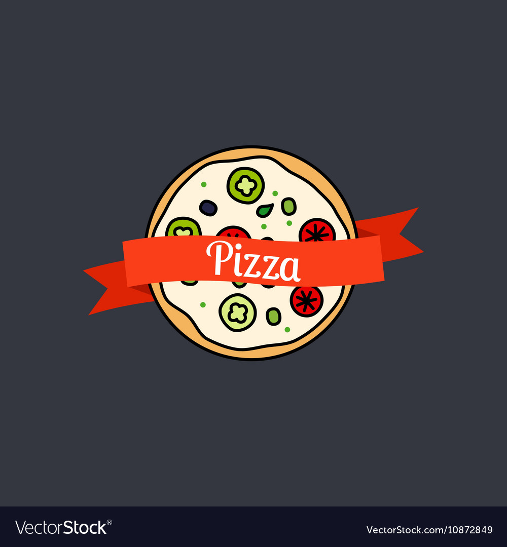 Pizza icon with text on ribbon