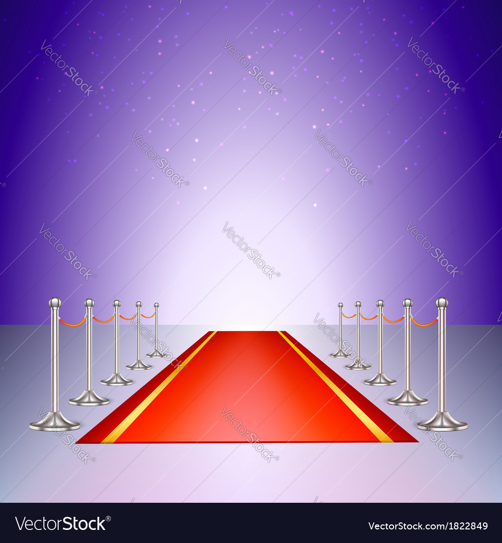 Red carpet entrance with the stanchions and the