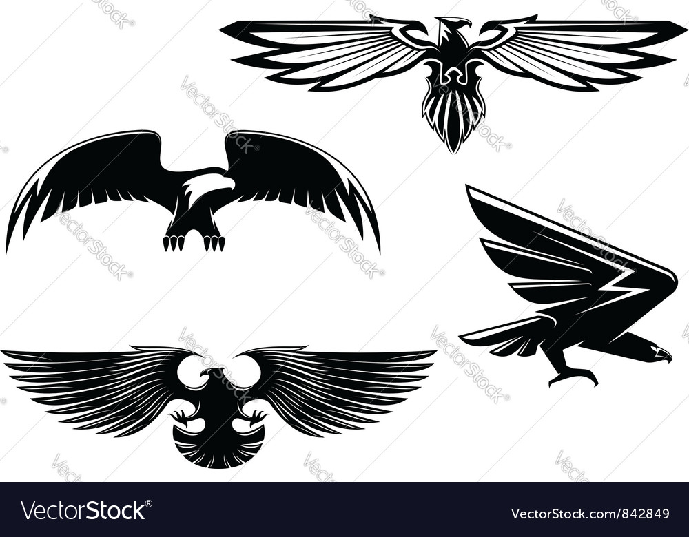 Set of heraldry eagles vector image