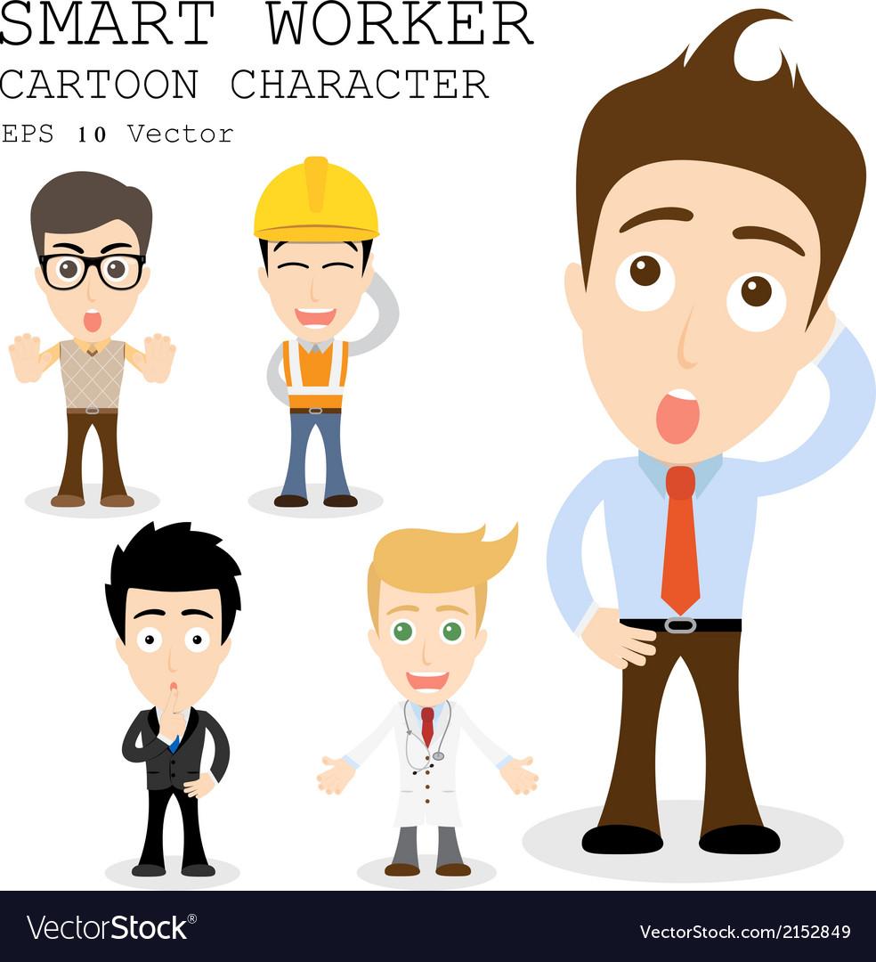Smart worker cartoon character eps 10