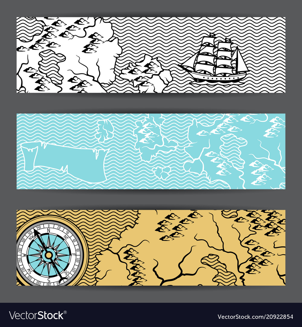 Banners with old nautical map