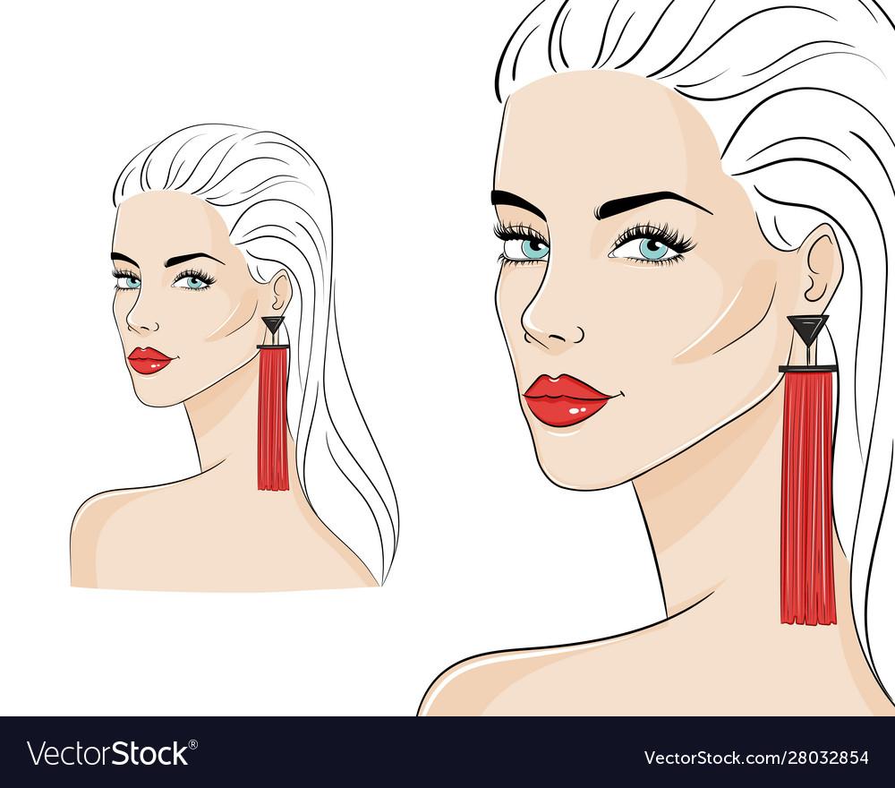 Beautiful woman wearing stylish jewelry