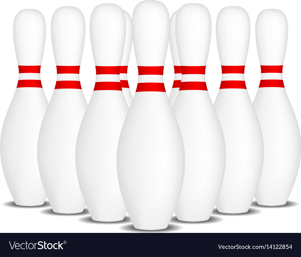 Bowling pins with stripes standing in formation vector image
