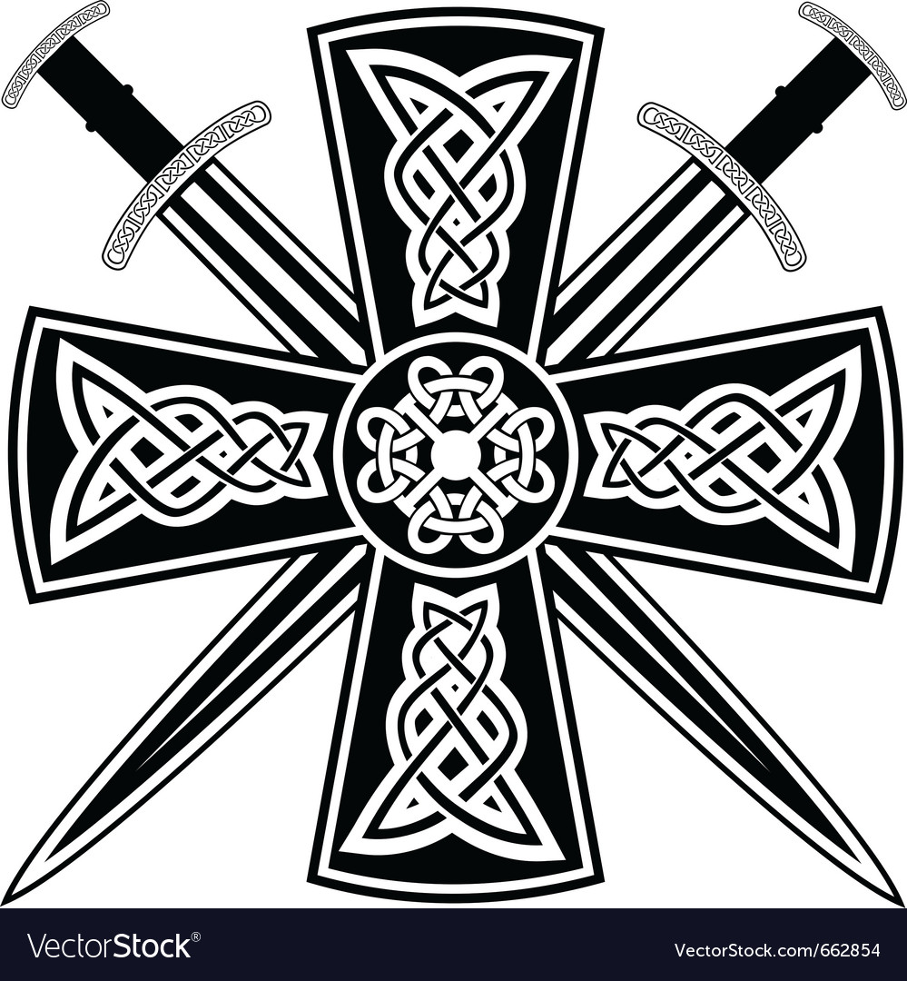celtic cross and swords royalty free vector image rh vectorstock com celtic cross vector free download celtic cross vector free