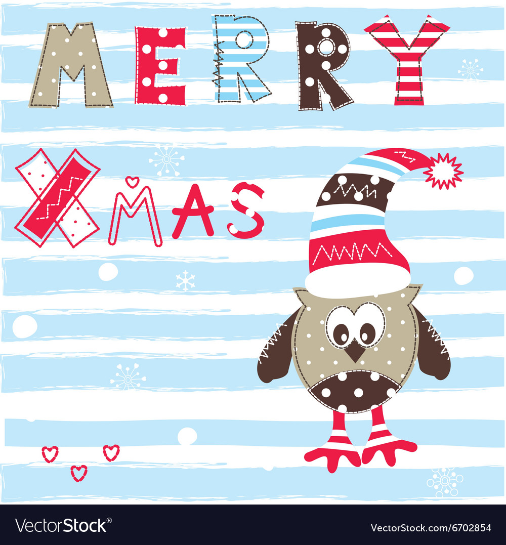 Christmas greeting card with cute owl