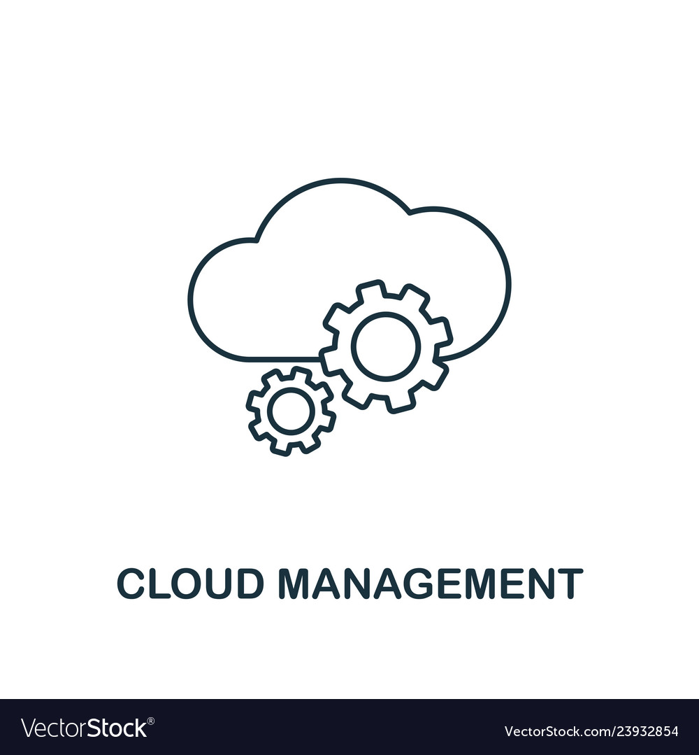 Cloud management outline icon thin line style