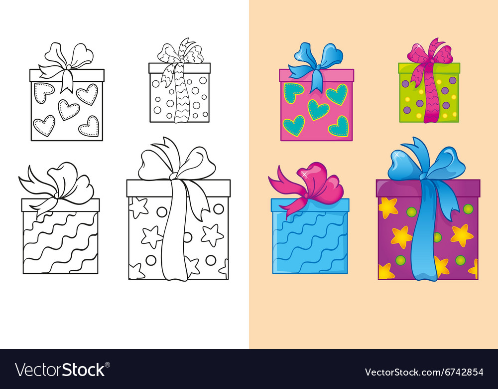 Coloring Book Of Set Christmas Square Gift Boxes Vector Image