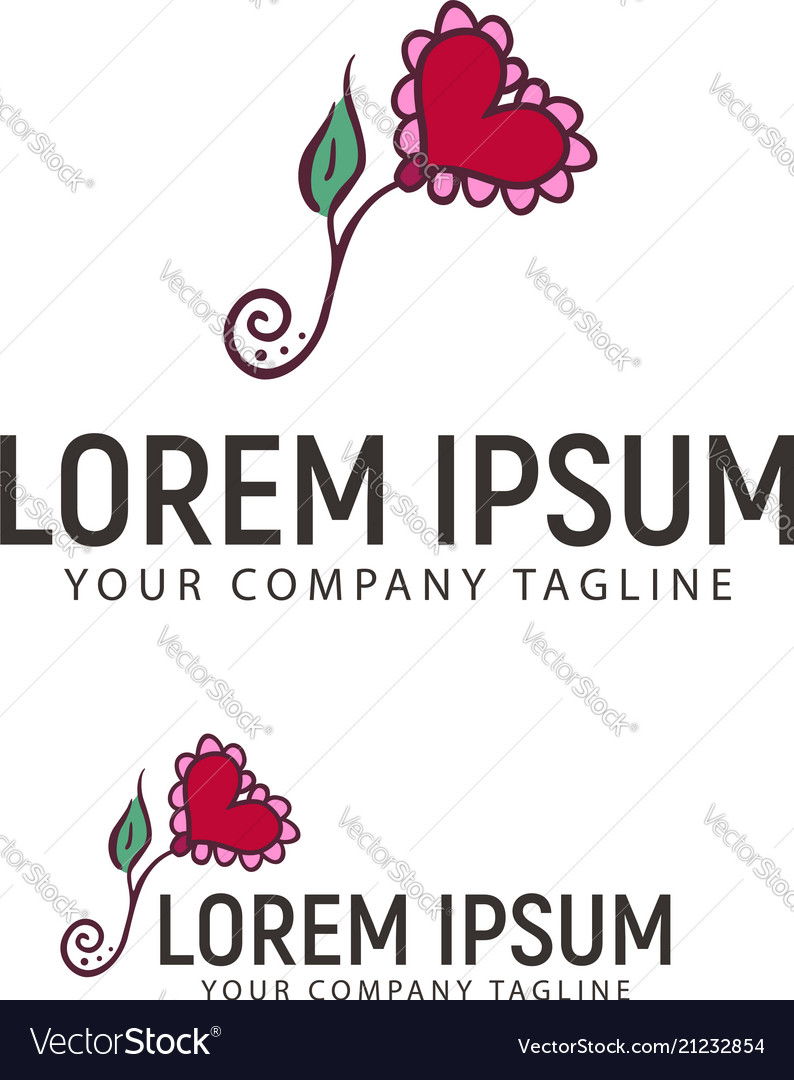 Flower heart hand drawn logo design concept vector image