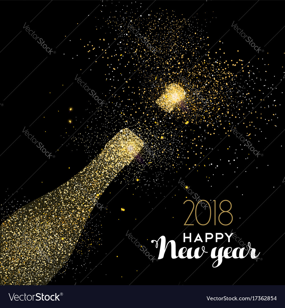 Happy new year party drink gold glitter dust card vector image