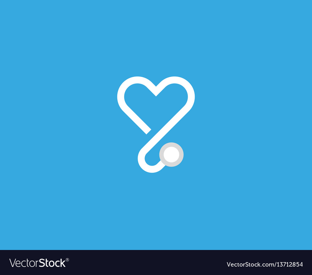 Heart stethoscope logotype linear medical vector image