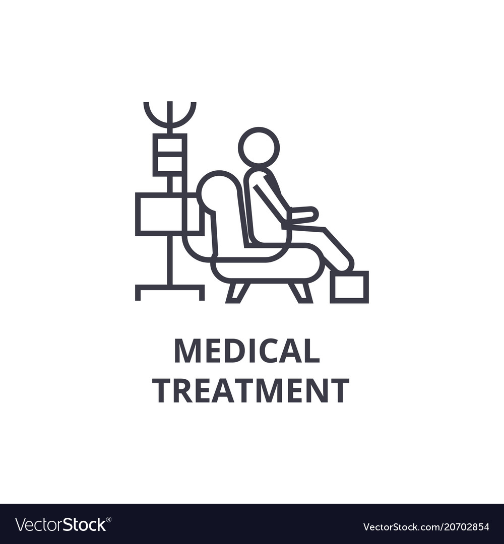Medical treatment thin line icon sign symbol vector image