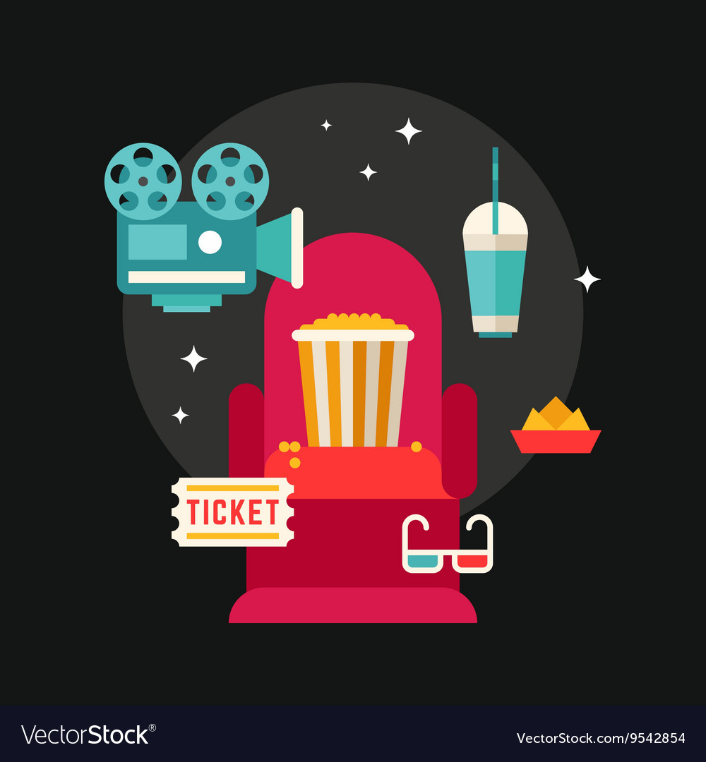 Movie Concept Flat Style Chair in Movie Theater