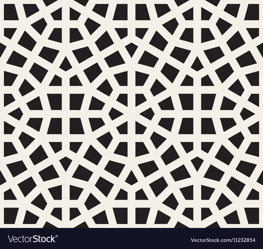 Seamless Black and White Hexagon Lines