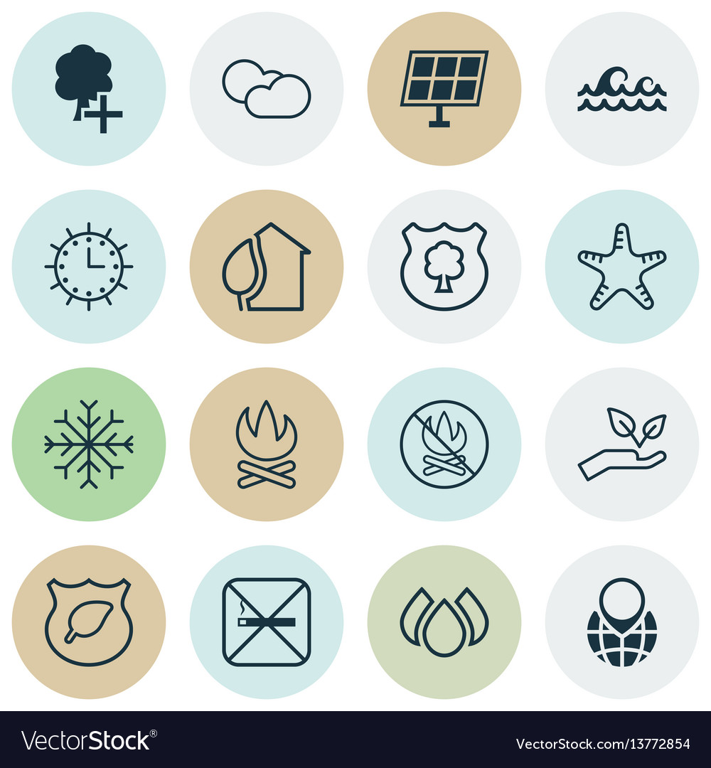 Set of 16 eco icons includes sun clock ocean