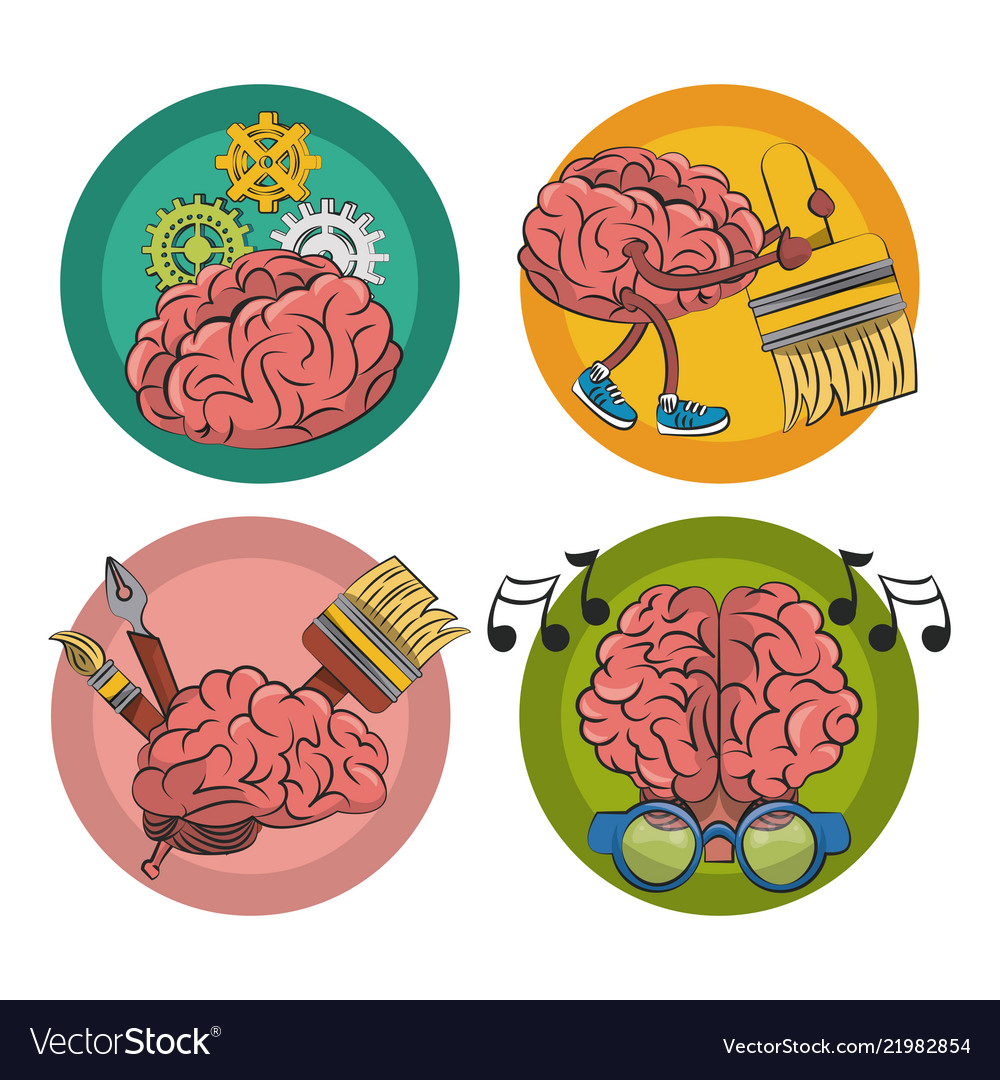 Set Of Creative Brains Emblem Vector Image