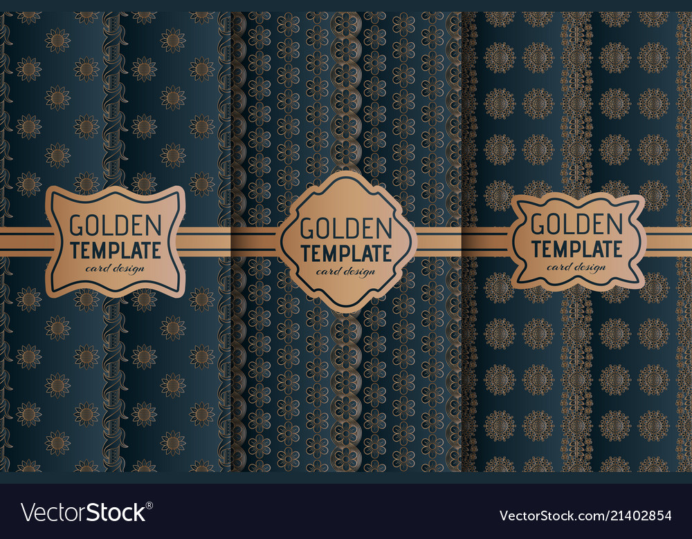 Set of golden luxury templates abstract geometric