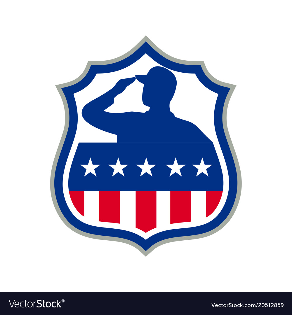 American soldier saluting usa flag crest icon