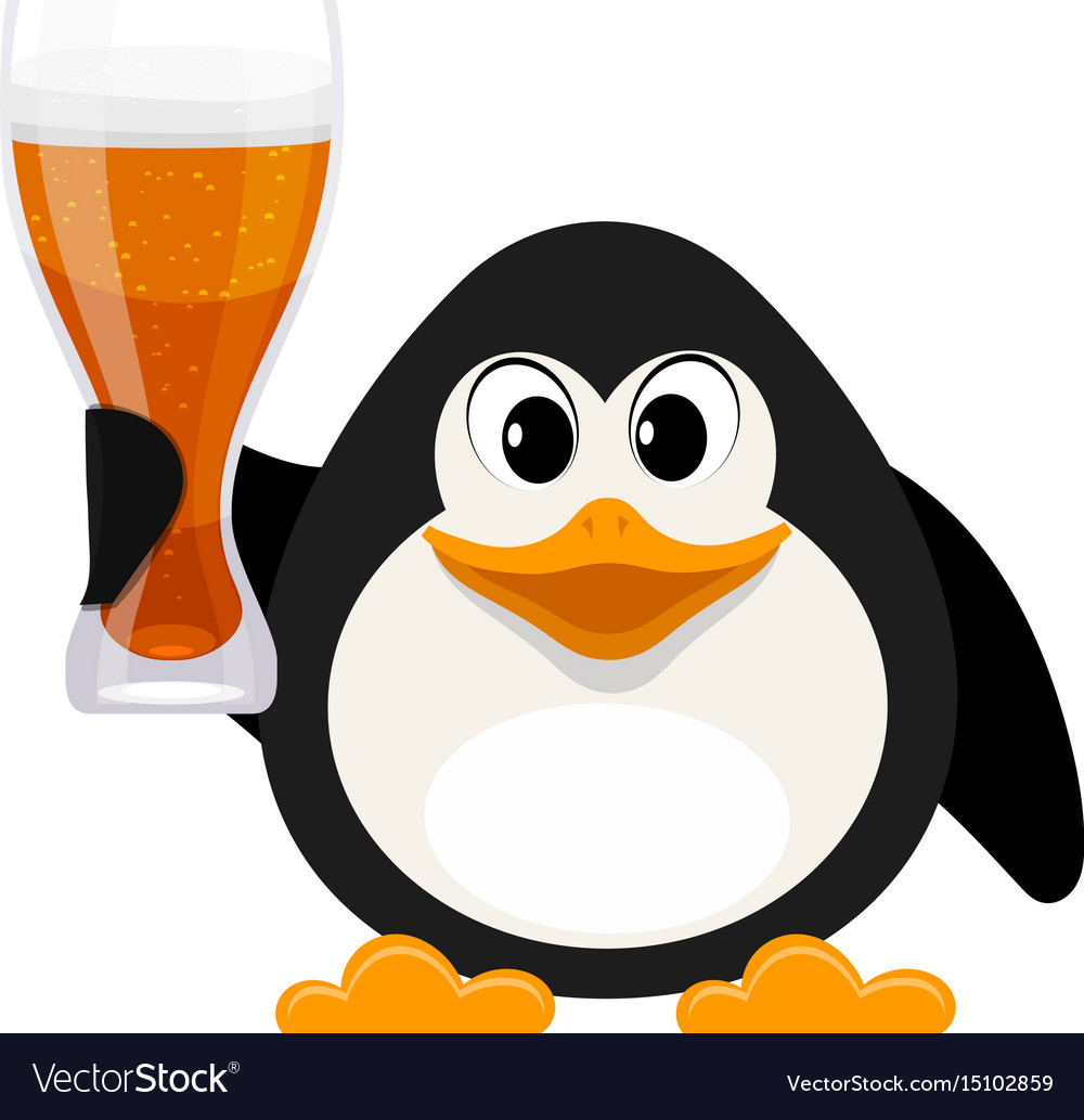 Cartoon style penguin with a glass of beer on a vector image