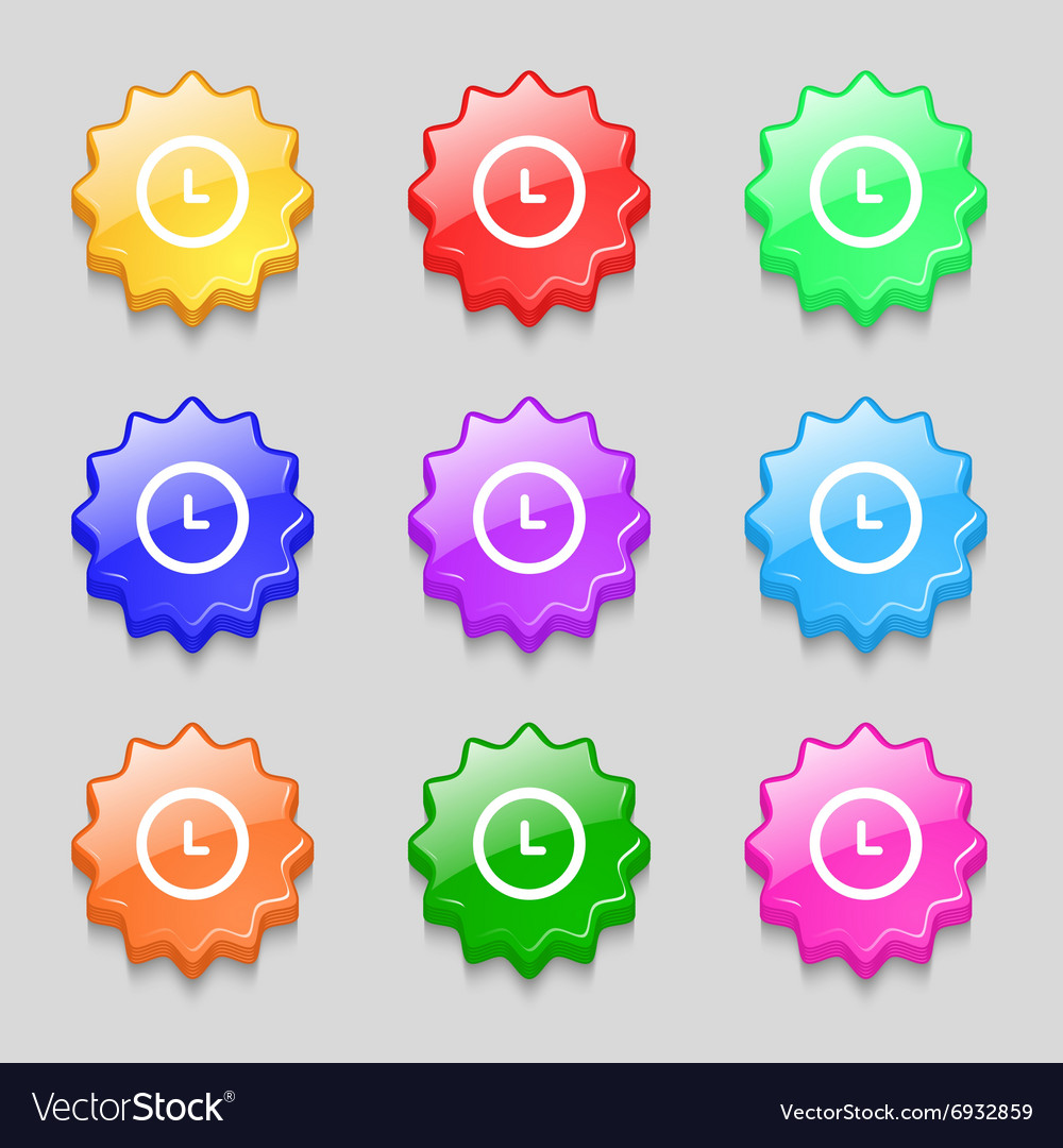 Clock icon sign symbol on nine wavy colourful