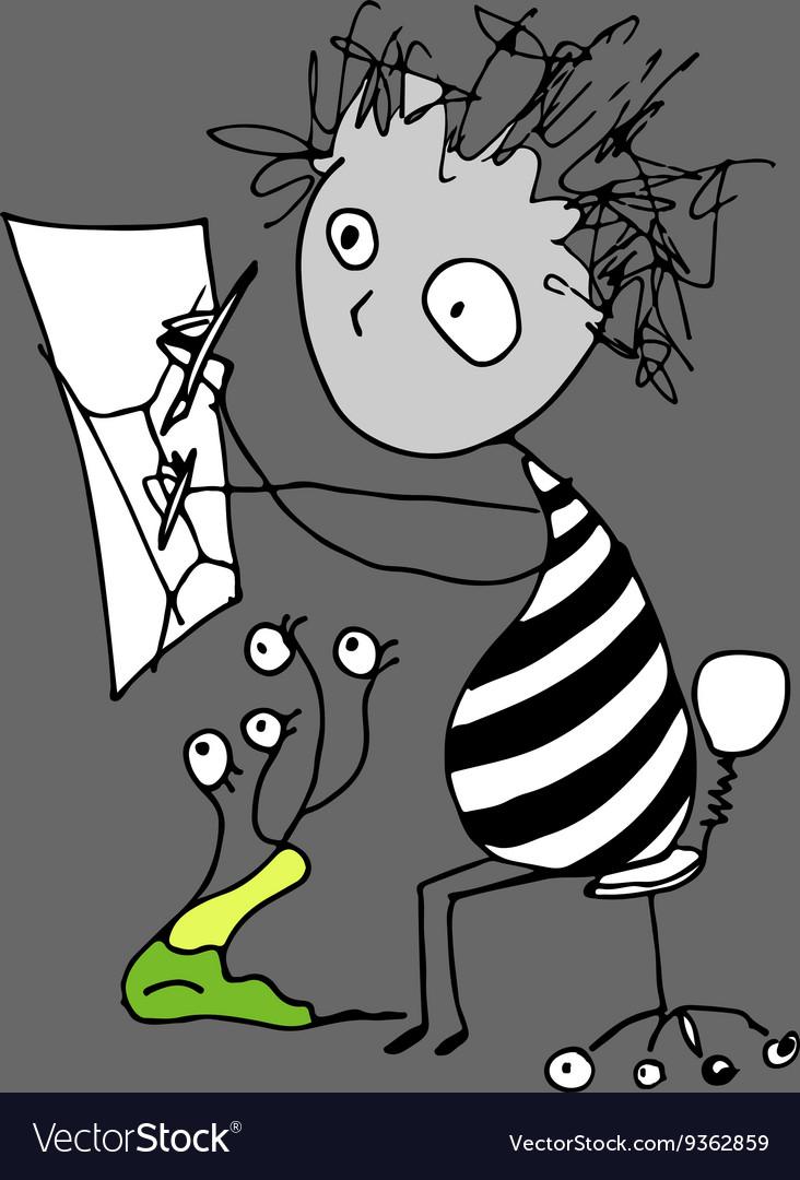 Doodle cartoon artist vector image