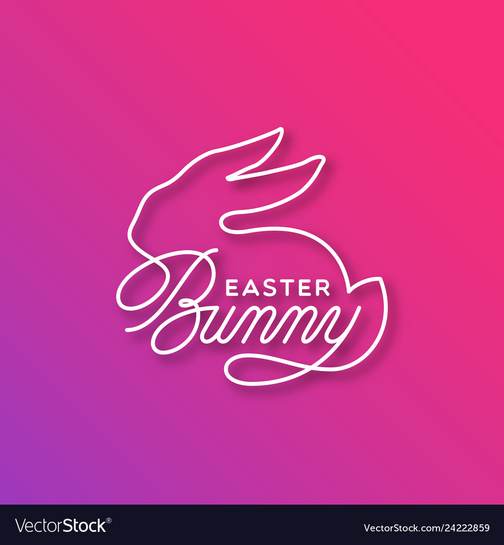 Easter bunny linear lettering