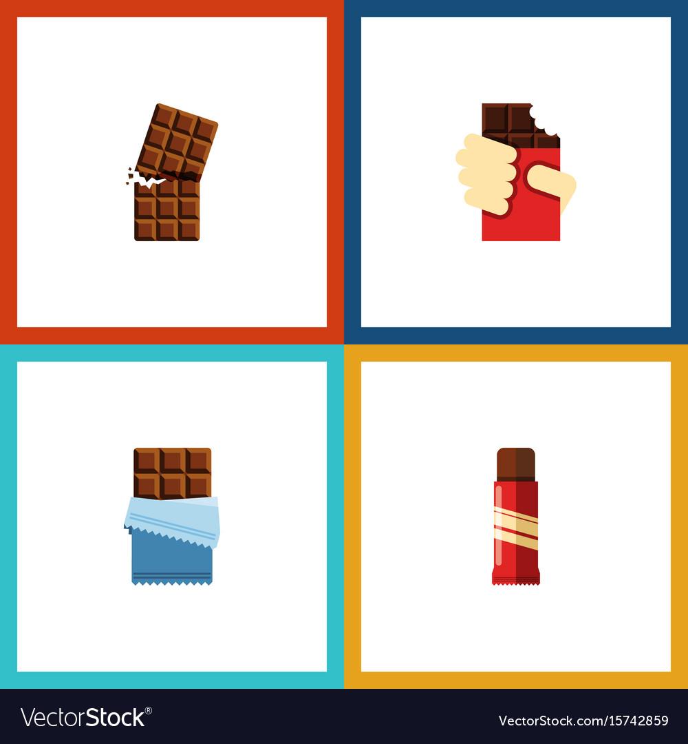 Flat icon sweet set of wrapper sweet shaped box