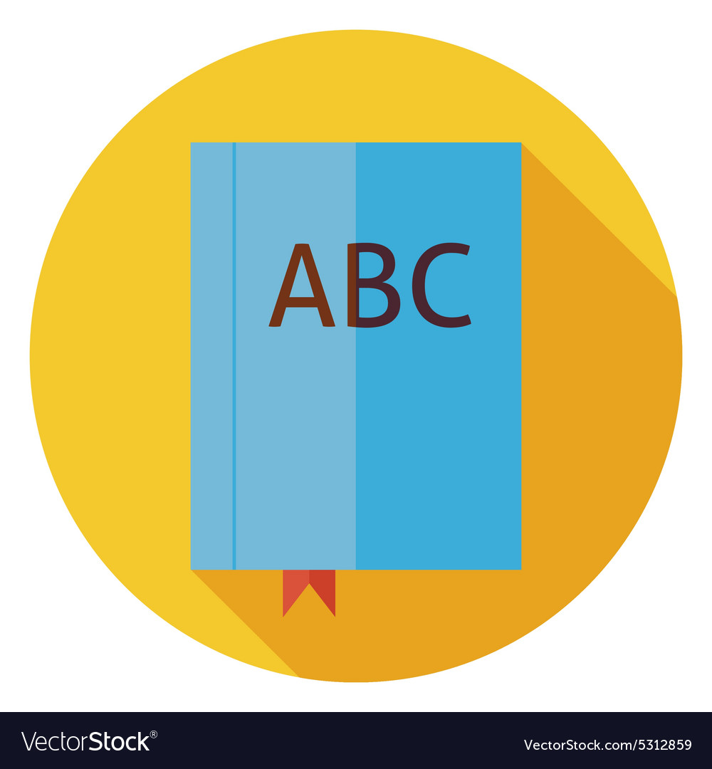 Flat Reading Book with Bookmark Circle Icon with