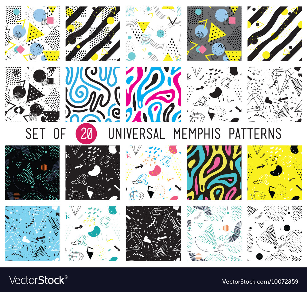 Geometric memphis seamless isolated patterns