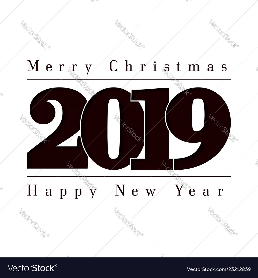Happy new year and merry christmas card black
