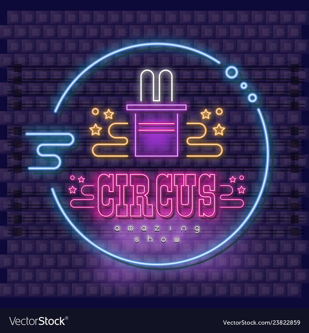 Neon circus emblem