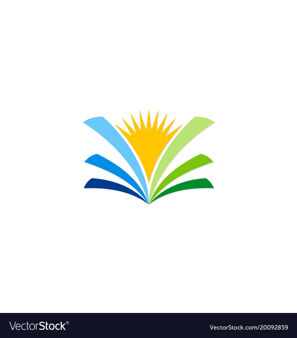 Open book sunshine knowledge logo