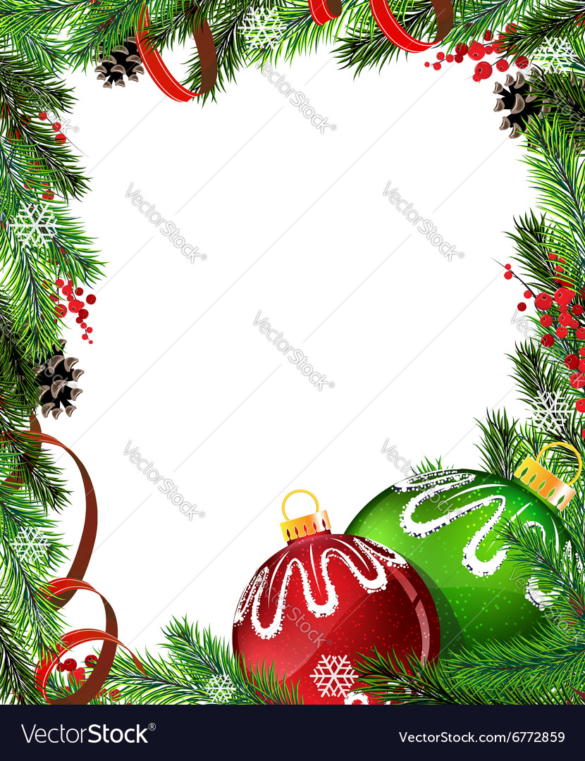 red and green christmas tree decorations with red vector image